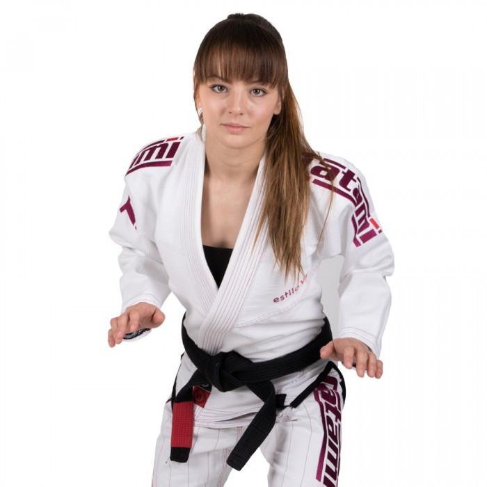 Кимоно женское для бразильского Джиу Джитсу TATAMI Estilo 6.0 Premier Белое с розовым