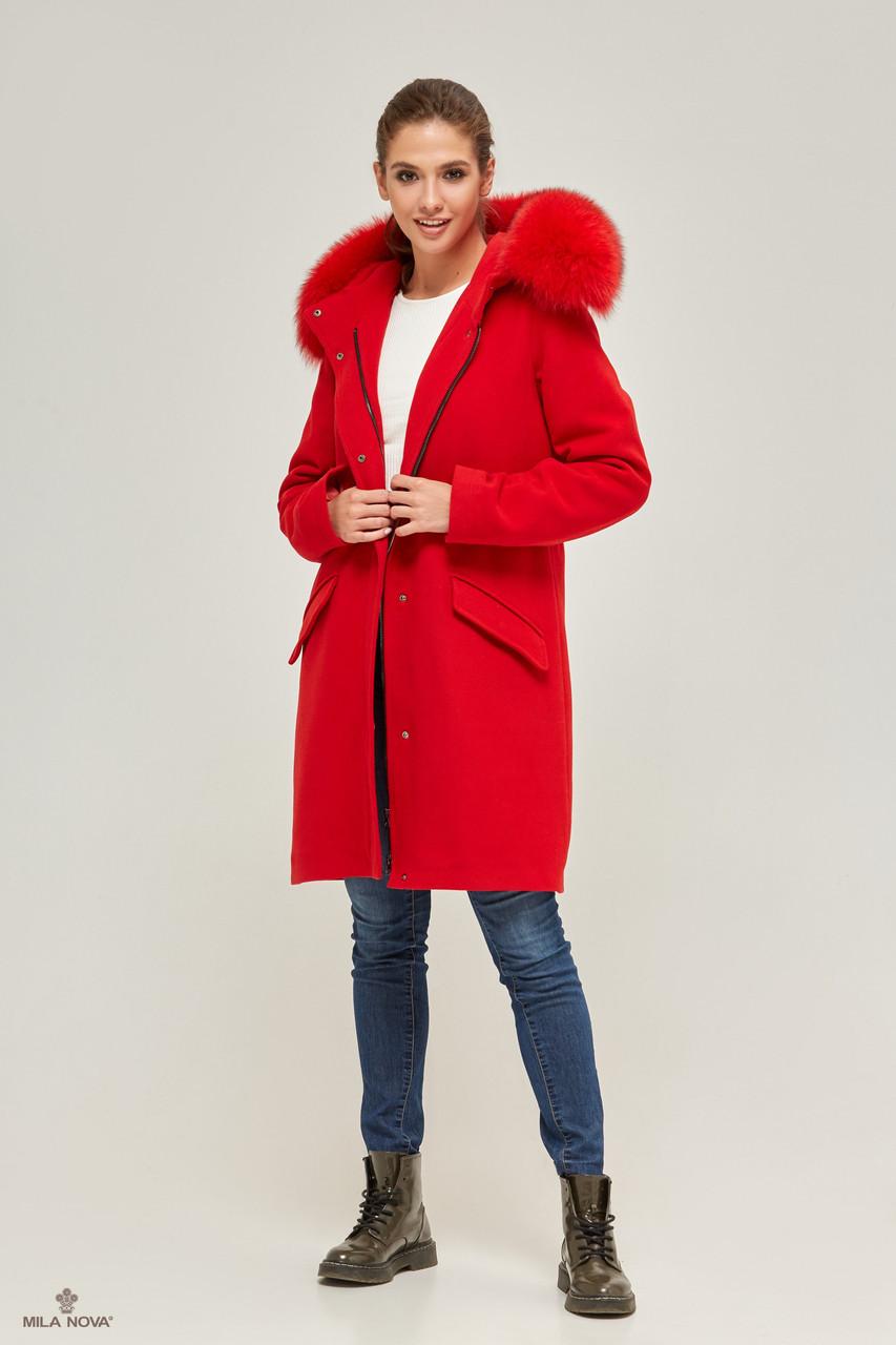Шикарная зимняя парка-пальто с мехом енота ТМ Mila Nova (красный)