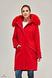 Шикарная зимняя парка-пальто с мехом енота ТМ Mila Nova (красный), фото 2