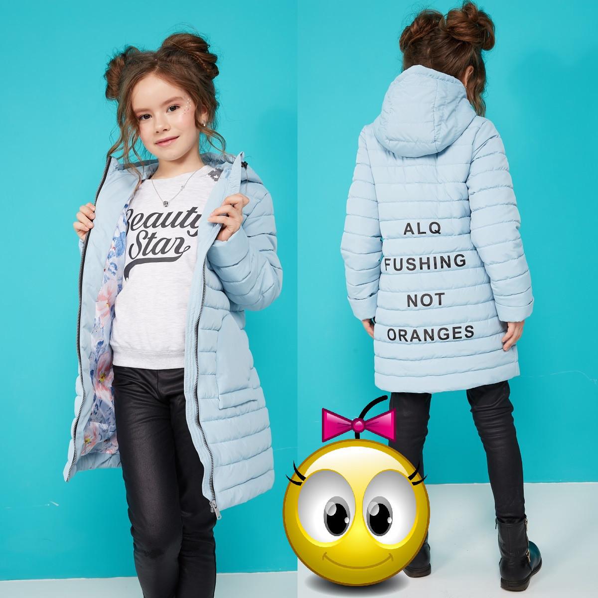 Куртка для дівчинки Весна-Осінь з принтом і капюшоном NW Поллі 19893 Блакитний