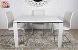 Стеклянный раздвижной кухонный стол BRISTOL B (130/200*85 см) белый Nicolas, фото 3