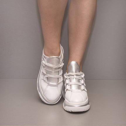 Кроссовки массивные белые 8390, фото 2