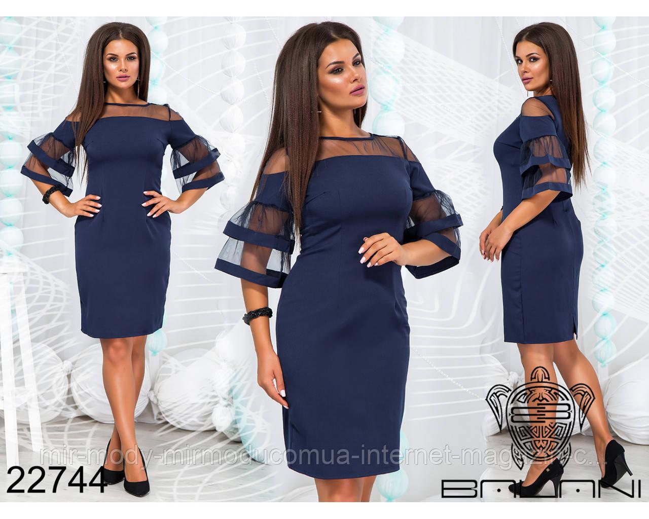 Платье с 46 по 60 размер сеткой - 22744 БН