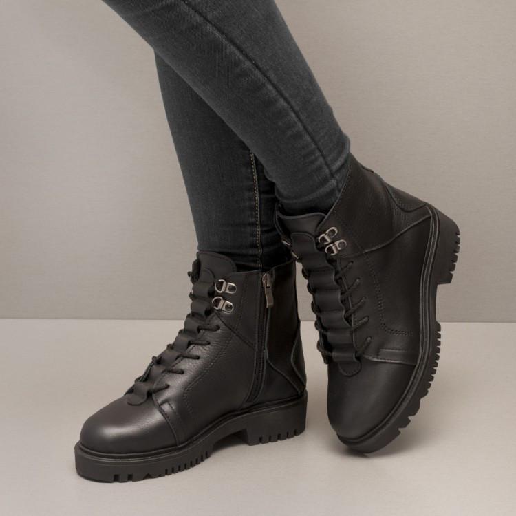 Ботинки кожаные на шнурках 8460