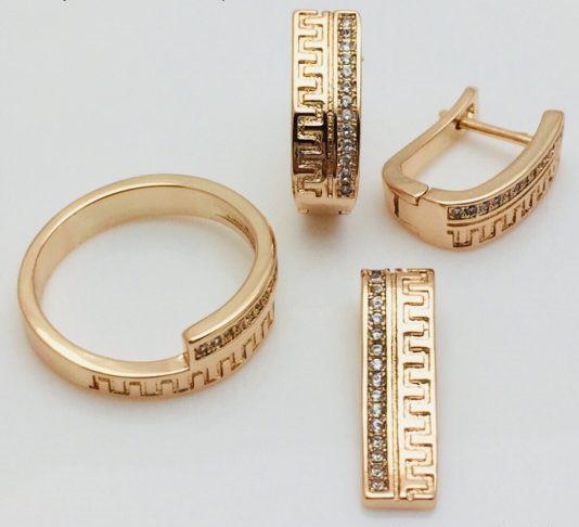 Набор серьги + кольцо+ кулон, размер кольца 16