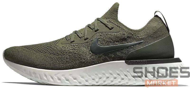 Женские кроссовки Nike Epic React Flyknit Olive AQ0070-300, Найк Эпик Реакт Флайнит