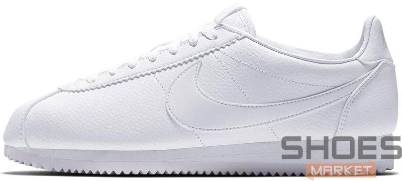 "Женские кроссовки Nike Classic Cortez Leather ""All White"" 807471-102, Найк Кортез"