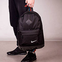Стильный городской спортивный рюкзак NIKE, Найк. Черный с черным. Ромбик