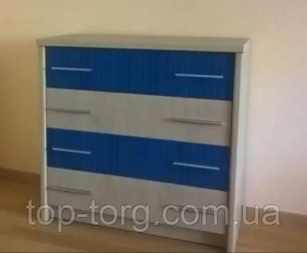 Комод світлий в дитячу кімнату Денді 4Ш Мебельсервис синій, фото, на 4 (чотири) висувних ящика. В наявності та під замовлення