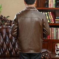 Мужская зимняя кожаная куртка. Модель 1872, фото 5