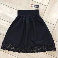Стильная юбка с кружевом  черная