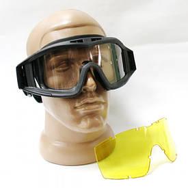 Очки защитные маска баллистическая черная 2 линзы