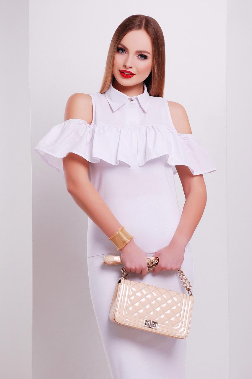 Біла блузка з воланом