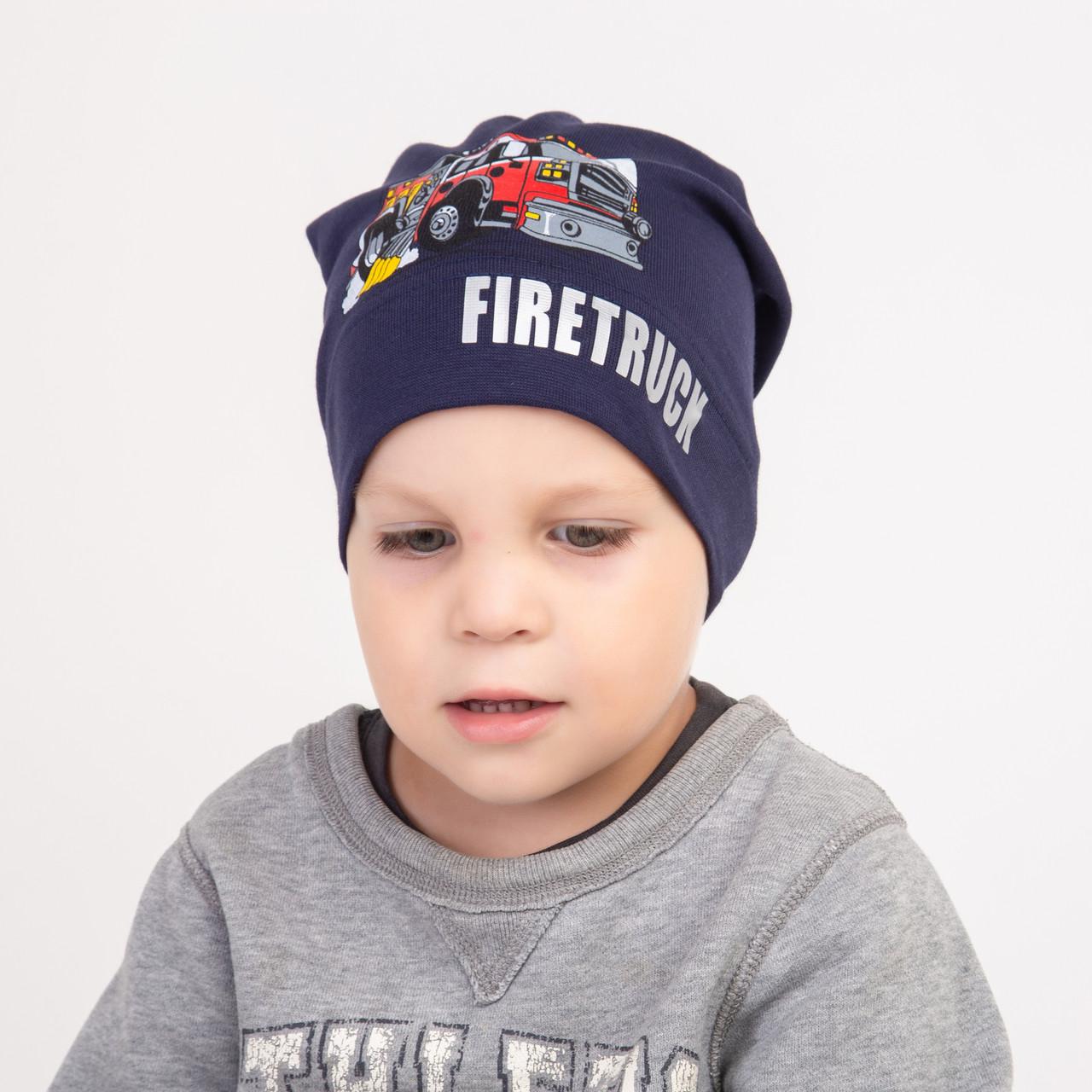 Шапка из хлопка для мальчика на весну-осень - Firetruck - Артикул 2278