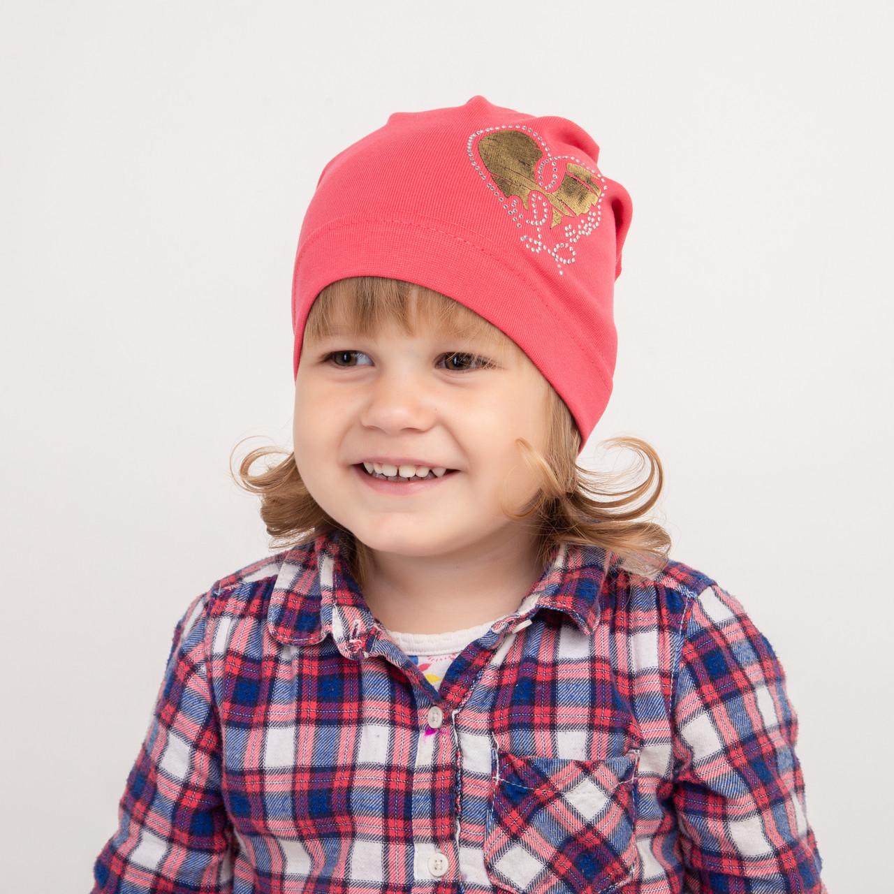 Хлопковая шапка на осень для девочки - Love - Артикул 2317