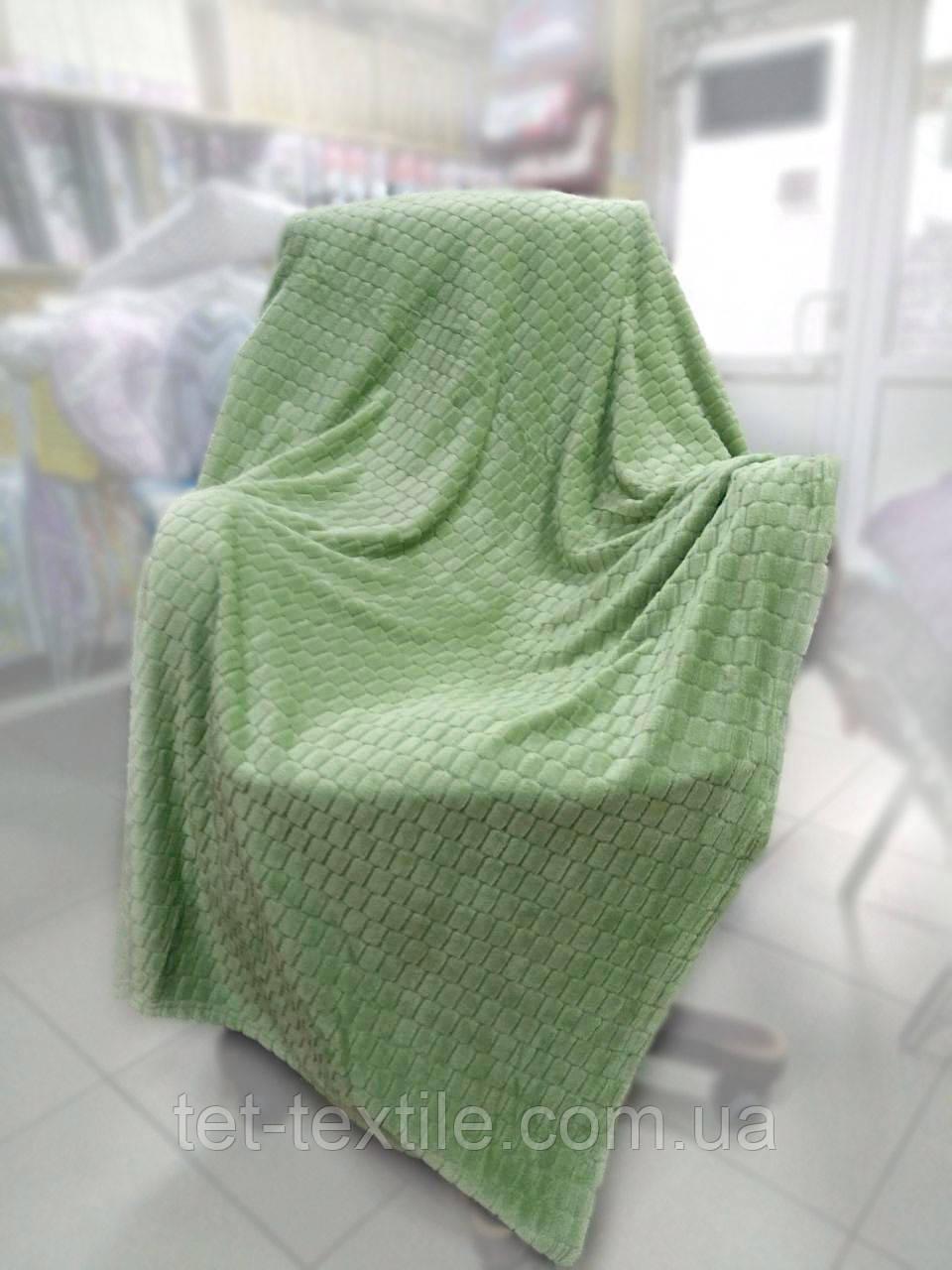 "Плед-покрывало из бамбукового волокна ""Shang Hay"" Кубики оливка (200x230cм.)"