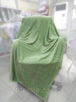 """Плед-покрывало из бамбукового волокна """"Shang Hay"""" Кубики оливка (200x230cм.), фото 2"""