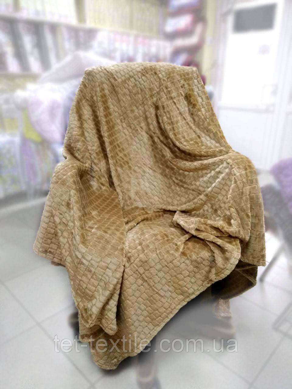 """Плед-покрывало из бамбукового волокна """"Shang Hay"""" Кубики песочный (200x230cм.)"""