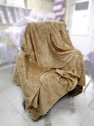"""Плед-покрывало из бамбукового волокна """"Shang Hay"""" Кубики песочный (200x230cм.), фото 2"""