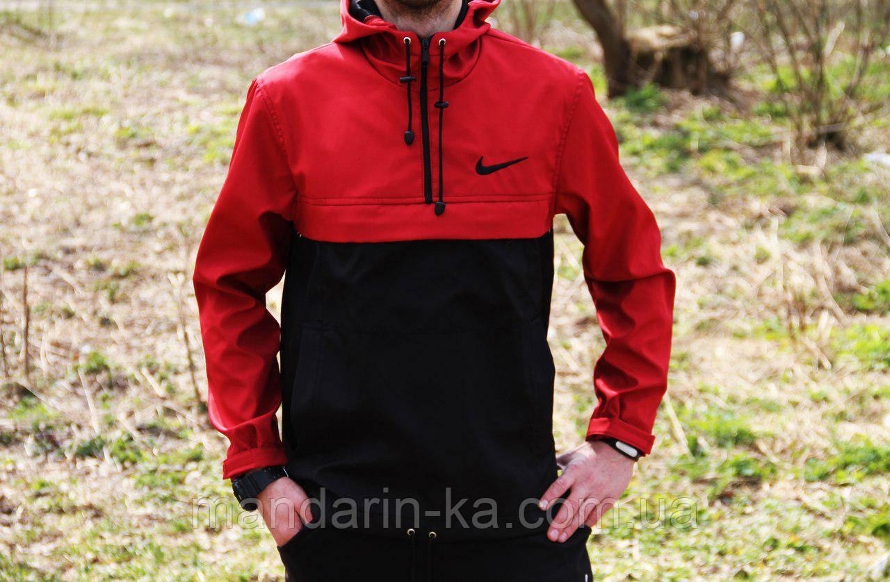 Мужская ветровка  анорак  Nike Найк черно-красный (реплика)