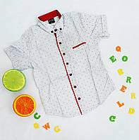 Рубашка детская с коротким рукавом, стрейч коттон, 6-11 лет, белая узор