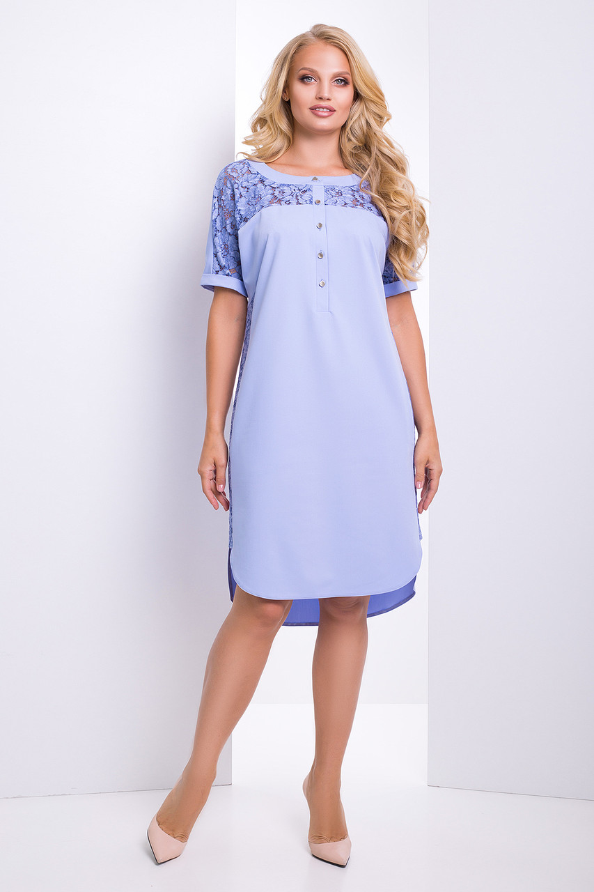 Модное платье прямого силуэта Donna 50–56р.в расцветках сирень