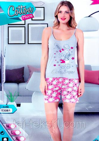 Пижама женская майка и шорты хлопок разные цвета Cotton More № 53061, фото 2