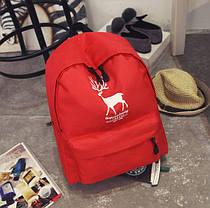 Большой тканевый рюкзак для школы с принтом оленя, фото 2
