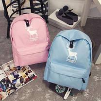 Большой тканевый рюкзак для школы с принтом оленя, фото 3