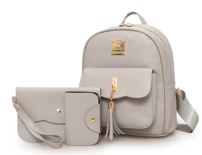 Стильный набор для модных девушек 3в1, рюкзак, клатч и визитница