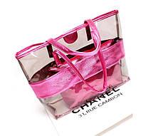 Вместительная сумка с силиконовой вставкой и клатчем, фото 2