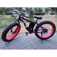 Уникальный крутой велосипед электрический с толстыми колесами мощность 250W LKS FATBIKE Electro Rear Drive  красный
