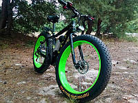 Уникальный крутой велосипед электрический с толстыми колесами мощность 250W LKS FATBIKE Electro Rear Drive  зеленый