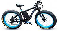 Уникальный крутой велосипед электрический с толстыми колесами мощность 250W LKS FATBIKE Electro Rear Drive  Синий
