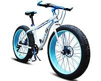 Уникальный крутой велосипед электрический с толстыми колесами мощность 250W LKS FATBIKE Electro Rear Drive  белый
