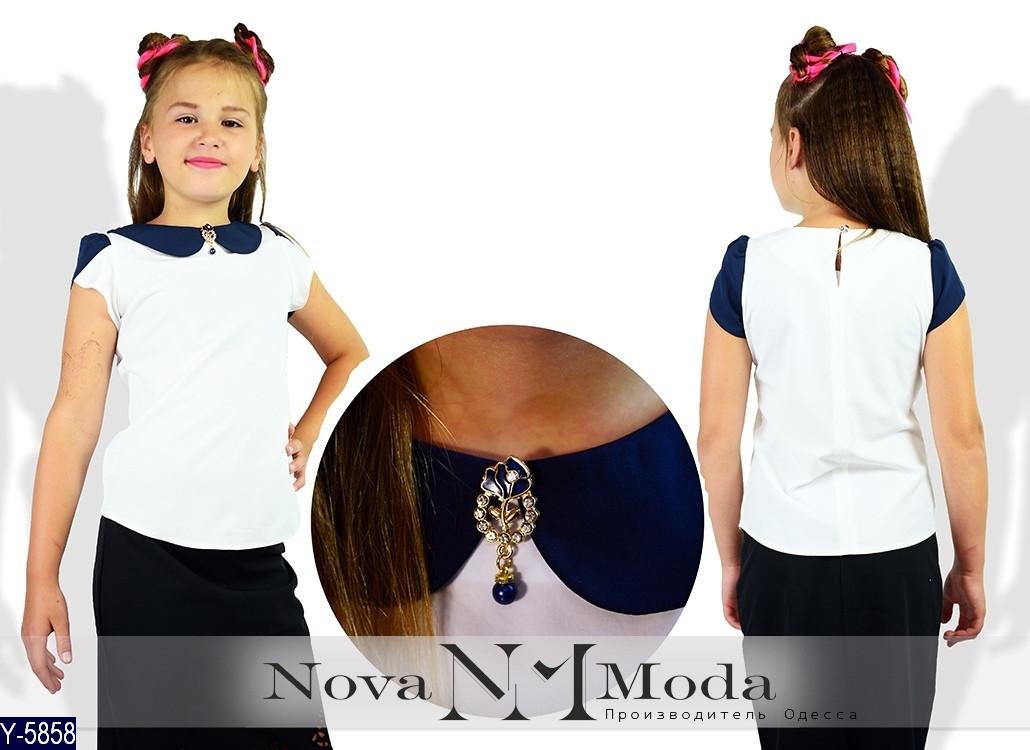 Блуза школьная с коротким рукавом Ткань софт 122, 128, 134, 140, 146, 152