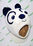 Зимний шлем Панда с ушами (белый с темно синим)
