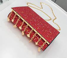 Элегантная сумка клатч на цепочке с блестками и брелками, фото 2