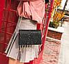 Элегантная сумка клатч на цепочке с блестками и брелками, фото 5