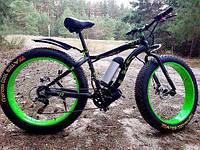 Крутой электровелосипед мощностью 500W фэтбайк с толстыми колесами LKS FATBIKE Electro Rear Drive Зеленый