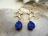 Золотые сережки с синими друзами от WickerRing