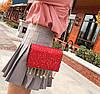 Элегантная сумка клатч на цепочке с блестками и брелками, фото 6