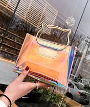 Оригинальная прозрачная сумка с ручками-котиками, фото 2