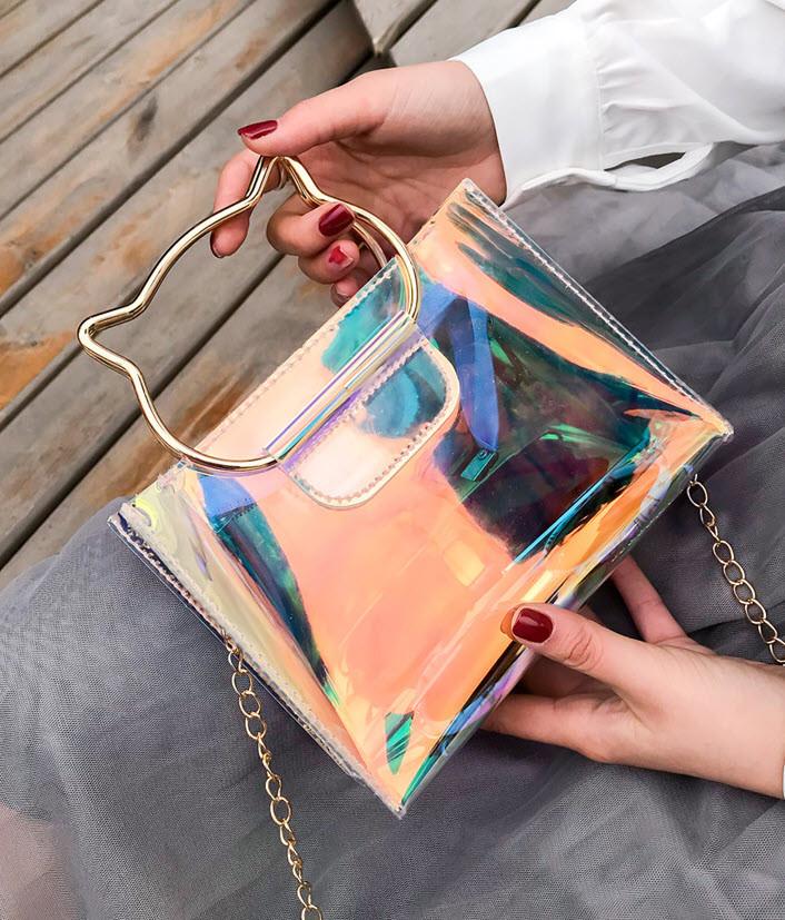 Оригинальная прозрачная сумка с ручками-котиками
