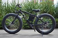Фэтбайк велосипед елит класса с толстыми колесами LKS FATBIKE Electro Rear Driveна моторе 350 Вт Черный
