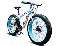 Фэтбайк велосипед елит класса с толстыми колесами LKS FATBIKE Electro Rear Driveна моторе 350 Вт Белый