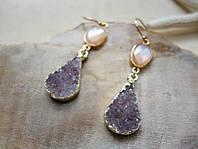 Золотые сережки с друзами и лунным камнем от WickerRing
