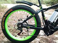Фэтбайк велосипед елит класса с толстыми колесами LKS FATBIKE Electro Rear Driveна моторе 350 Вт Зеленый
