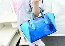 Большая сумка с прозрачной силиконовой вставкой и клатчем, фото 3