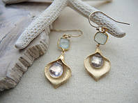 Золотые сережки с кварцом и халцедоном от WickerRing